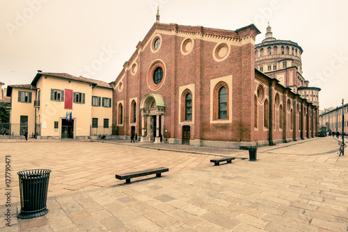 Poster view of Santa Maria delle Grazie Milan city  - here there is