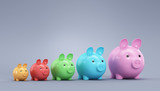 Multicolored piggy bank on a blue background. 3d render illustra