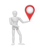 White mannequin with GPS location symbol