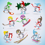Set of nine funny snowmen. Snowmen skiing, boards, sleigh, ice skating, playing snowballs, preparing for the New Year holidays. Winter fun. Vector illustration.