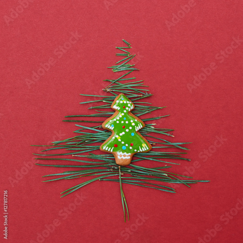 Poster Christmas tree made of pine needles and cookies