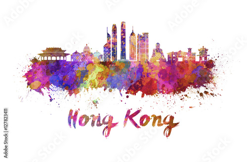 Poster Hong Kong V2 skyline in watercolor
