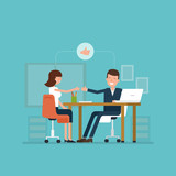 Vector concept of job interview women in flat style.