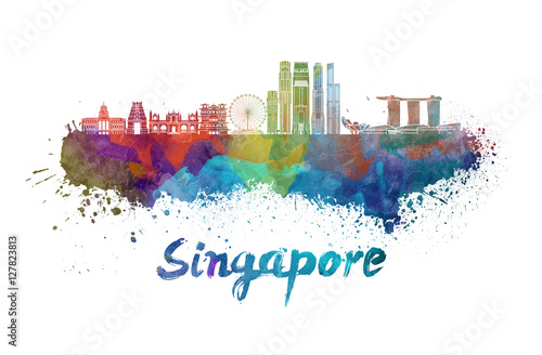Poster Singapore V2 skyline in watercolor