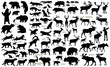 Постер, плакат: Big mammals of the northern lands vector silhouettes collection