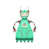 Green Friendly Android Robot Character On Six Wheels Vector Cartoon Illustration