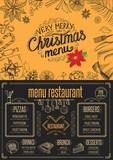 Christmas party invitation, food menu restaurant.