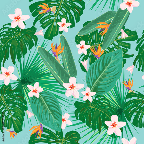 Cotton fabric Bright tropical seamless pattern