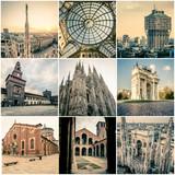 Milan city monuments mosaic - Duomo - Galleria Vittorio Emanuele - Velasca tower - Sforza Castle - Arch of Peace - S. Maria delle Grazie church - St. Ambrogio basilica