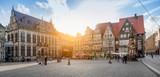 Fototapety Bremen market square panorama at sunset, Germany