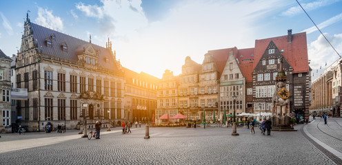 Bremen market square panorama at sunset, Germany