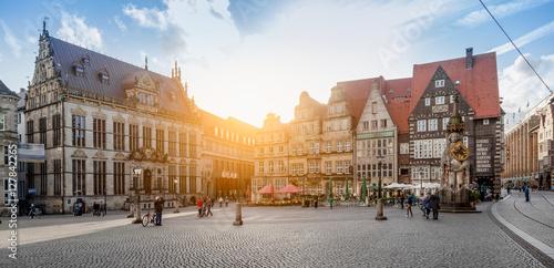 Leinwanddruck Bild Bremen market square panorama at sunset, Germany