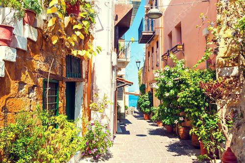 Beautiful street in Chania, Crete island, Greece.