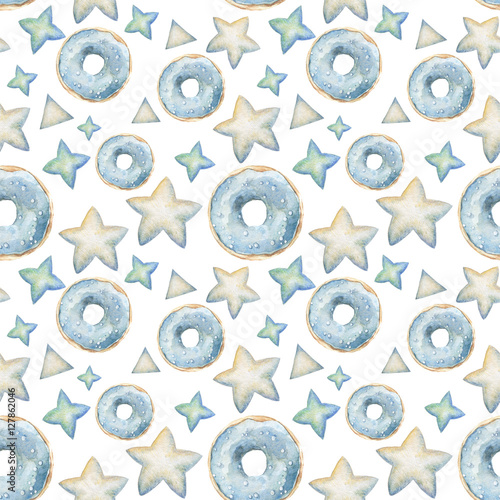 Cotton fabric Hand painted seamless watercolor donuts pattern. Blue, mint and vanilla glazed donuts isolated on white background