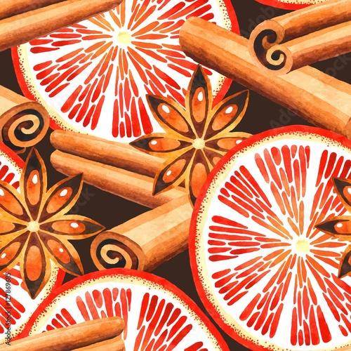 Cotton fabric Orange and cinnamon seamless