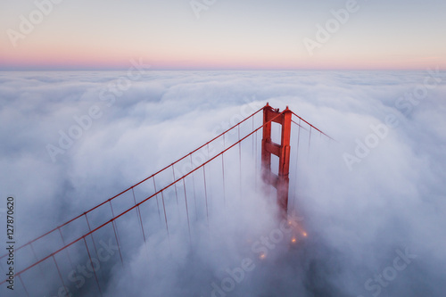 Fotobehang San Francisco Golden Gate Bridge Aerial Fog