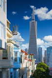 San Francisco downtown. Famous typical buildings in front. California theme. - 127871605