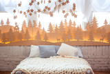 Cozy Christmas home interior. New year decoration.