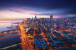 San Francisco panorama at sunrise with waterfront and downtown. California theme background. Art photograph.
