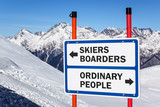 Skiers and boarders versus ordinary people gradation sign