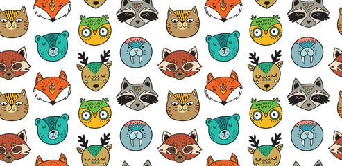 Seamless pattern with animals portrait