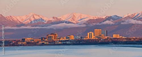 Fototapeta Anchorage Alaska Skyline