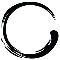 Zen Circle Enso Japanese Paint Brush Vector Illustration