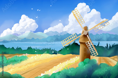 Plexiglas Boerderij Fantastic Watercolor Style Painting: Wheat Fields and Windmill. Video Game's Digital CG Artwork, Concept Illustration, Realistic Cartoon Style Background
