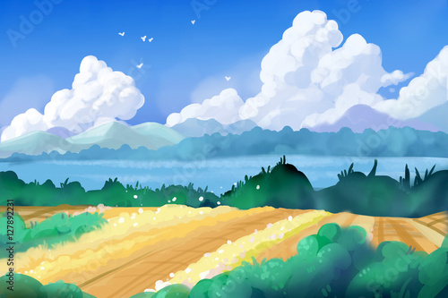 Aluminium Boerderij Fantastic Watercolor Style Painting: Beautiful Countryside. Video Game's Digital CG Artwork, Concept Illustration, Realistic Cartoon Style Background