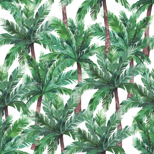 Watercolor exotic seamless pattern, green tropical tree - 127895424