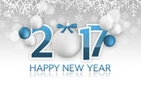 Happy New Year 2017 banner. Hanging baubles with bow, snow, snowflakes and blurred circles.