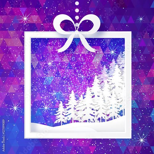 Poster Violet White Origami Merry Christmas Greeting card with Paper Xmas Tree