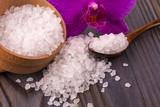 White bath salt in a wooden bowl - 127901250