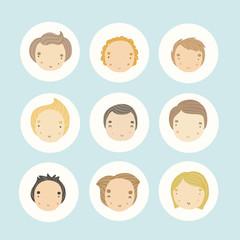 Set of 9 vector cartoon boys faces.