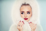Winter Beauty. Fashion Portrait of Cute Winter Woman with Makeup