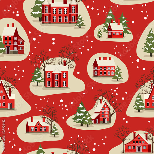 Cotton fabric Marry Christmas and Happy New Year seamless pattern vector illustration. Houses in snowfall, rural winter landscape at holiday. Xmas background with red brick christmas houses and snow covered tree