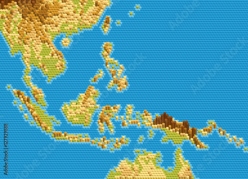 Staande foto Wereldkaart Vector physical map of Southeast Asia stylized using embossed hexagons