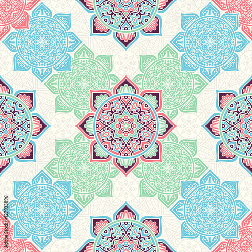 Ethnic floral seamless pattern - 127933896