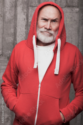 emotional closeup of Santa like man face in sportswear in studio Poster