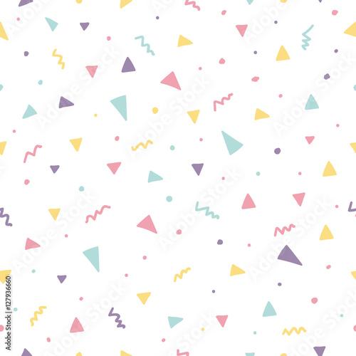 Memphis seamless pattern design with triangle confetti - 127936660