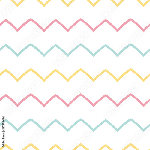 Memphis seamless pattern design with zigzag - 127936664