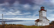 Panorama of a Canadian wooden lightouse in Cape Breton