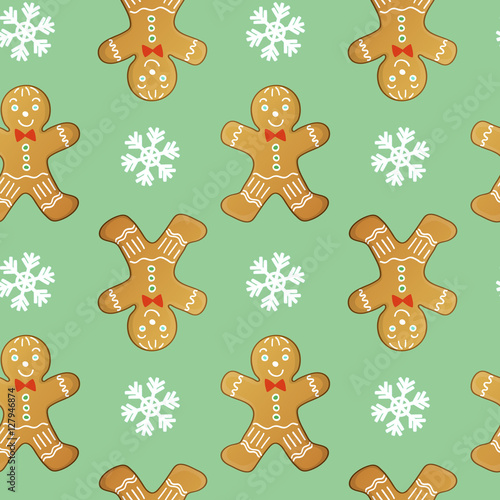 Materiał do szycia gingerbread men seamless vector pattern