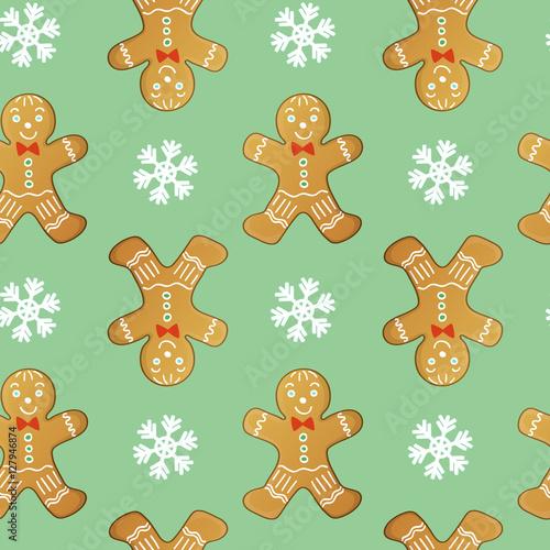 Cotton fabric gingerbread men seamless vector pattern