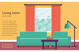 Banner of colorful living room interior with window in flat design. Background. Vector illustration.