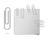 Vector realistic steel paper clips in different positions. - 127951466