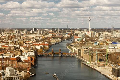 Poster Ost Berlin von oben mit Spree und Fernsehturm