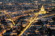Aerial view of Paris, France at night.