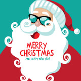 Merry Christmas and Happy New Year Cartoon Santa Claus with curly beard.