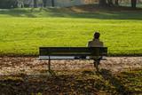 Persona da sola su una panchina nel parco  - 127958625